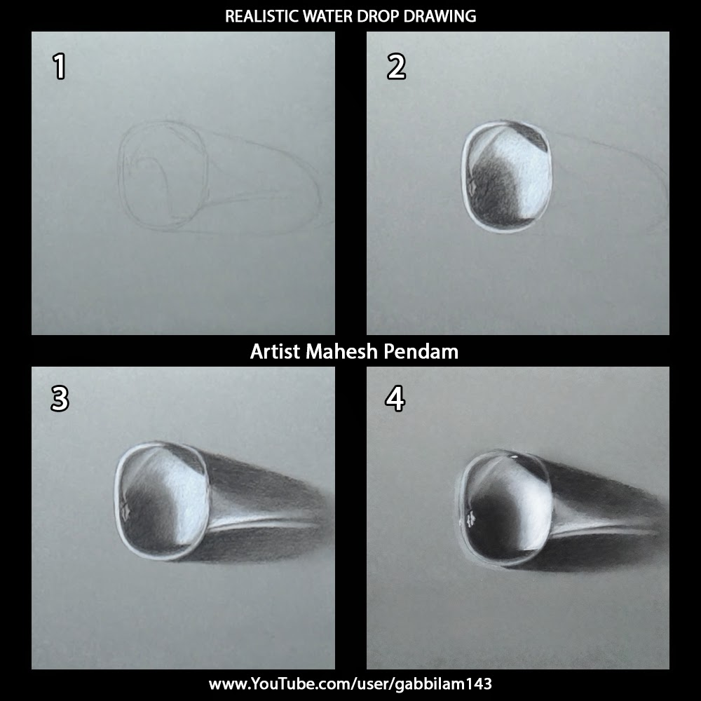 Realistic water drop drawing drawing phases