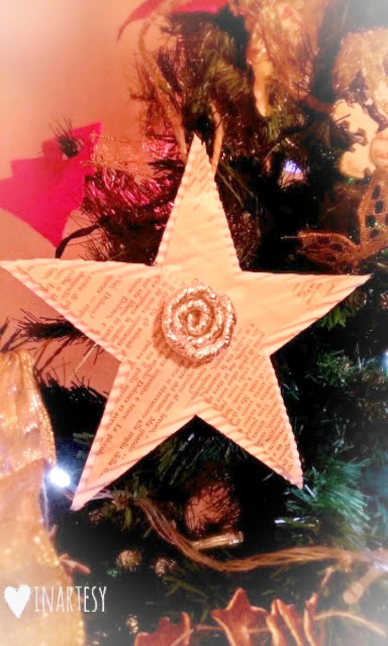 Stella Per Albero Di Natale Fai Da Te.Addobbi Per L Albero Di Natale Stella Di Carta Fai Da Te Inartesy