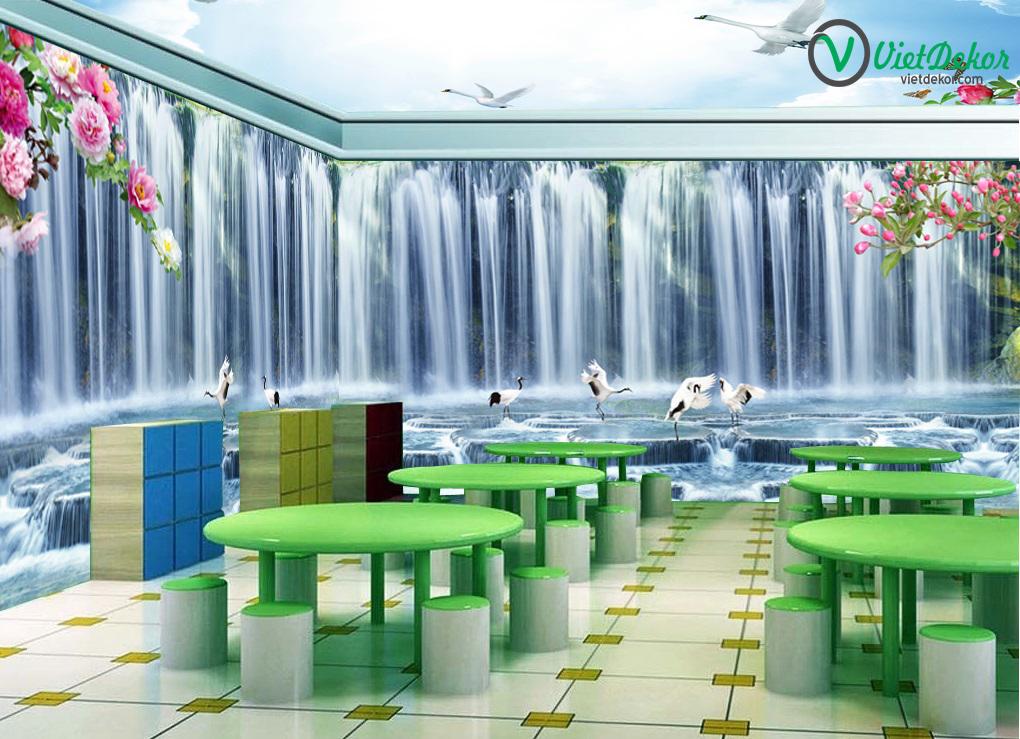 Tranh dán tường 3d thác nước hoa mẫu đơn