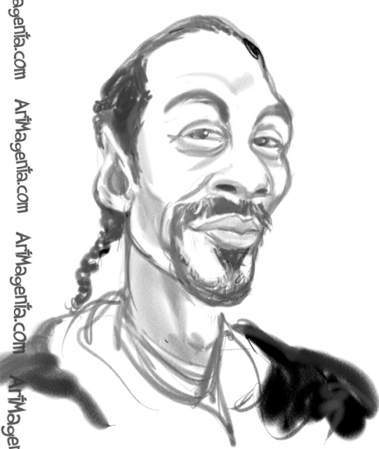 Snoop Dogg caricature cartoon. Portrait drawing by caricaturist Artmagenta.