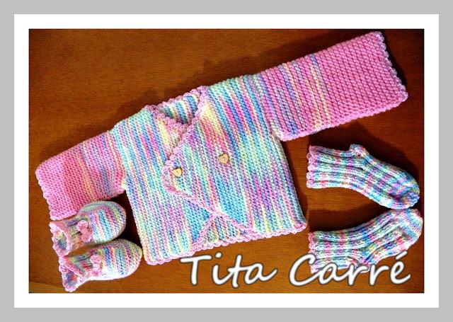 Casaquinho, sapatinho e meia de Bebê Primavera em tricot