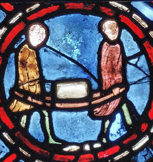Príncipes e plebeus preferiam trabalhar como serventes de pedreiro para a casa de Nossa Senhor. Vitral de Chartres