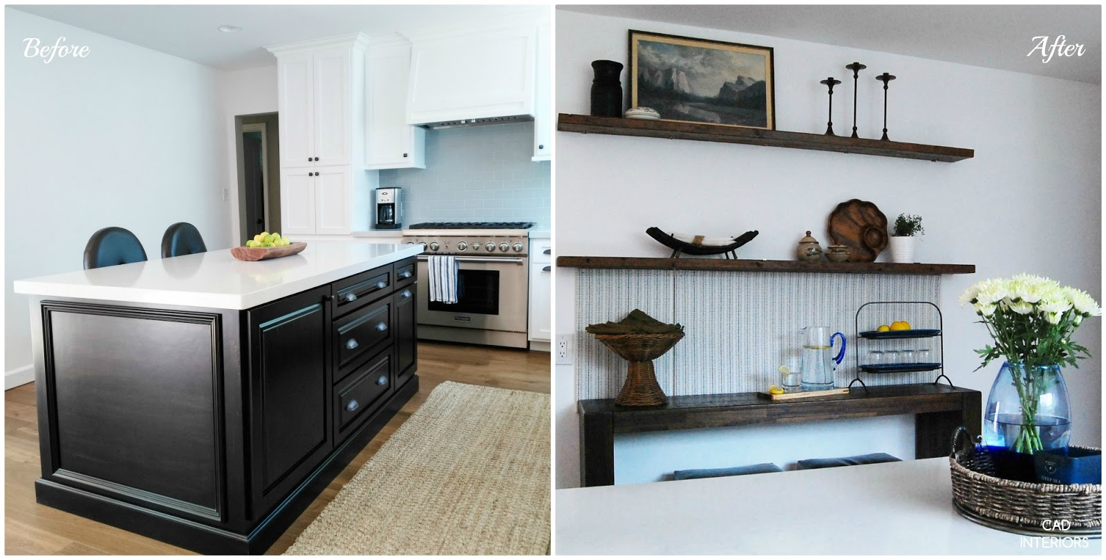 before and after kitchen wall diy transformation home improvement home office black white wood modern interior design