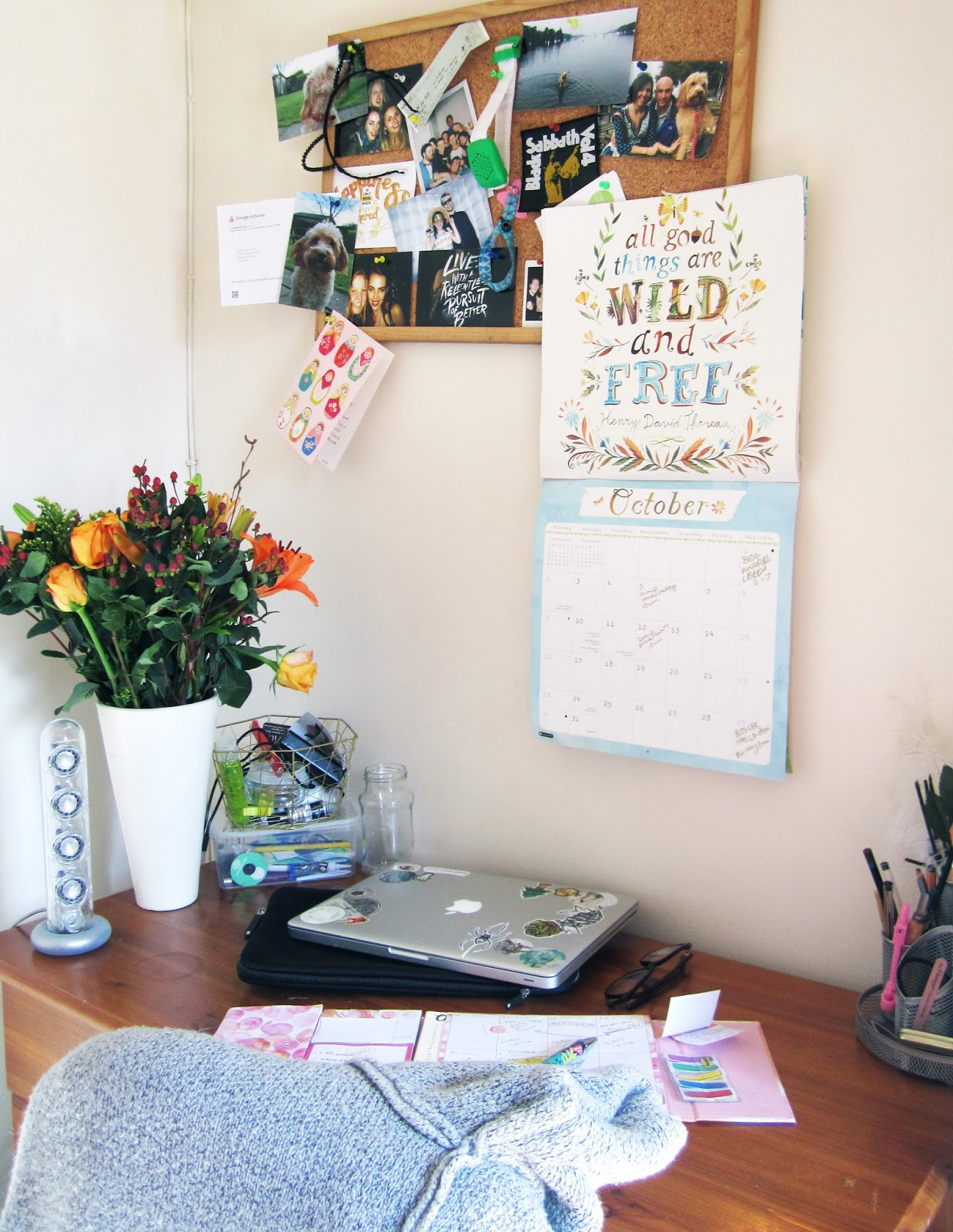 Sarah's desk, flowers from Blossoming Gifts