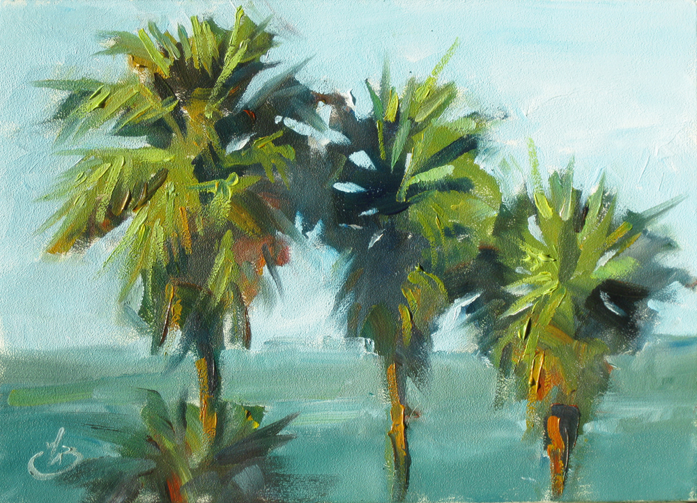 Tom brown fine art california palm trees 5x7 ocean for How to paint a tree