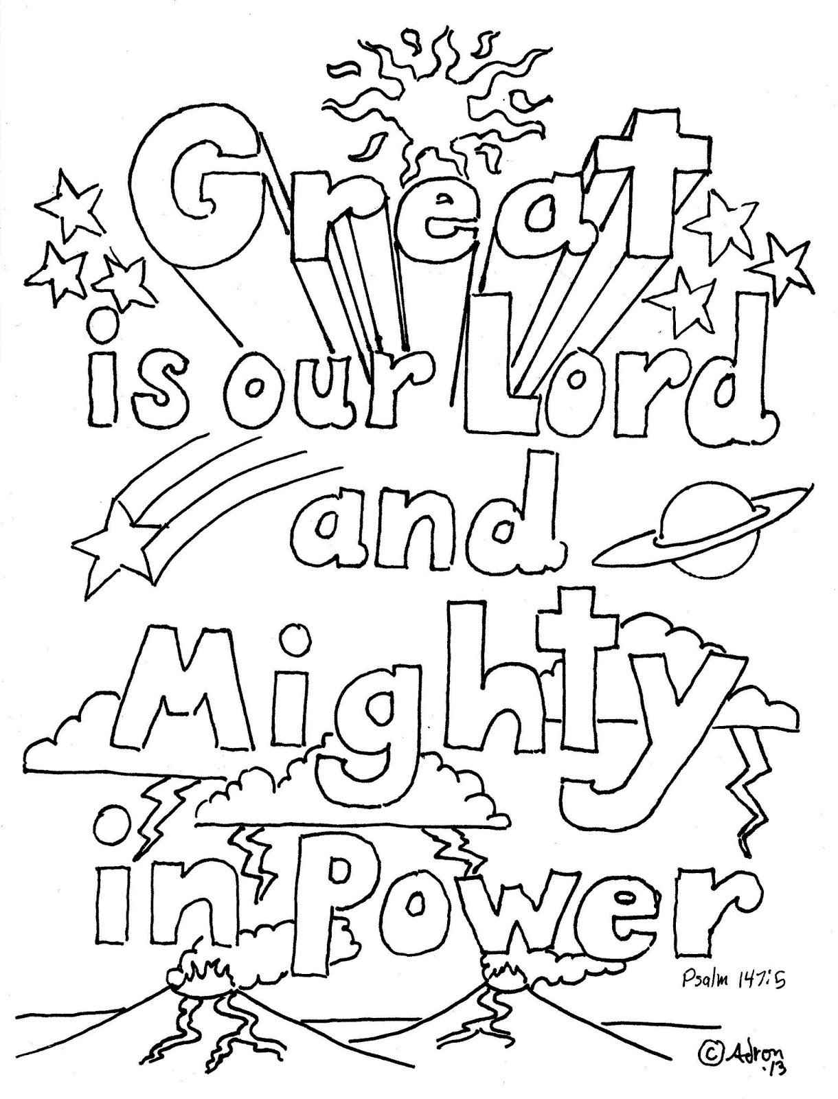 Coloring Pages For Kids By Mr Adron Great Is Our Lord Psalm 147 5 Print And Color Page