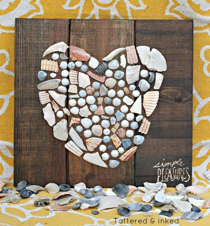 Seashell Heart Wall Art on Wood