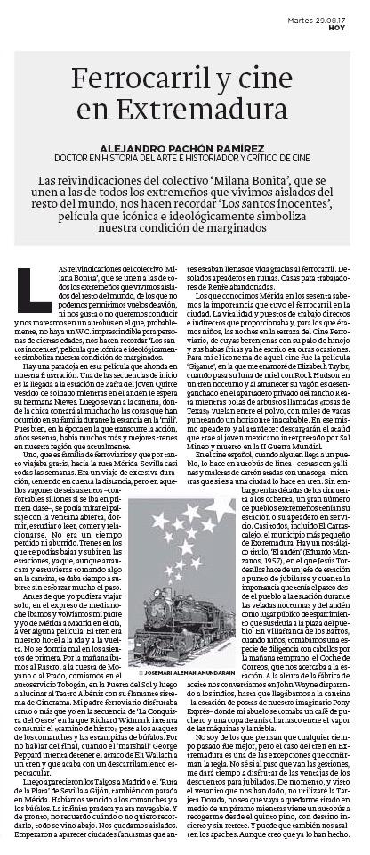 Ferrocarril y cine en Extremadura. Alejandro Pachón.