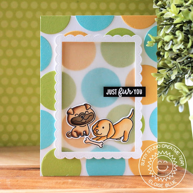 Sunny Studio Stamps: Devoted Doggies Window Trio Circle Dies Just Fur You Spotty Background Card by Eloise Blue
