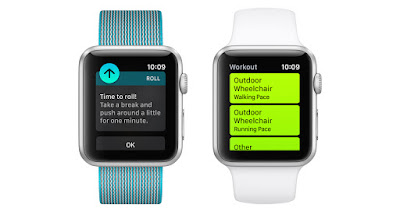 """two apple watches showing different screens. One shows """"time to roll! take a break and push around a little for one minute"""". The other shows activity tracking options for wheelchair users - """"outdoor wheelchair walking pace"""" and """"outdoor wheelchair running pace""""."""