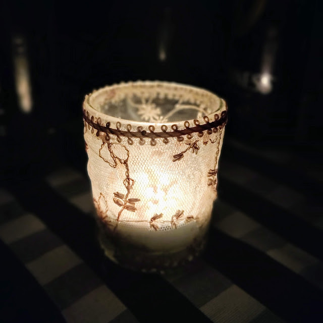 lace covered tea light holder