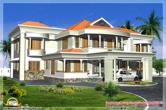 3520 square feet house elevation in 3D