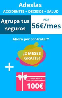 2 meses gratis y 100€ en amazon por agrupar tus seguros con Adeslas