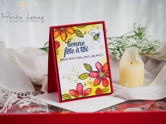 carte en décor avec le jeu Garden in bloom stampinup
