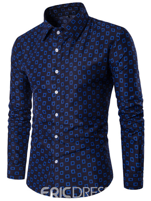 Ericdress Long Sleeve Print Single-Breasted Slim Fit Men's Shirt