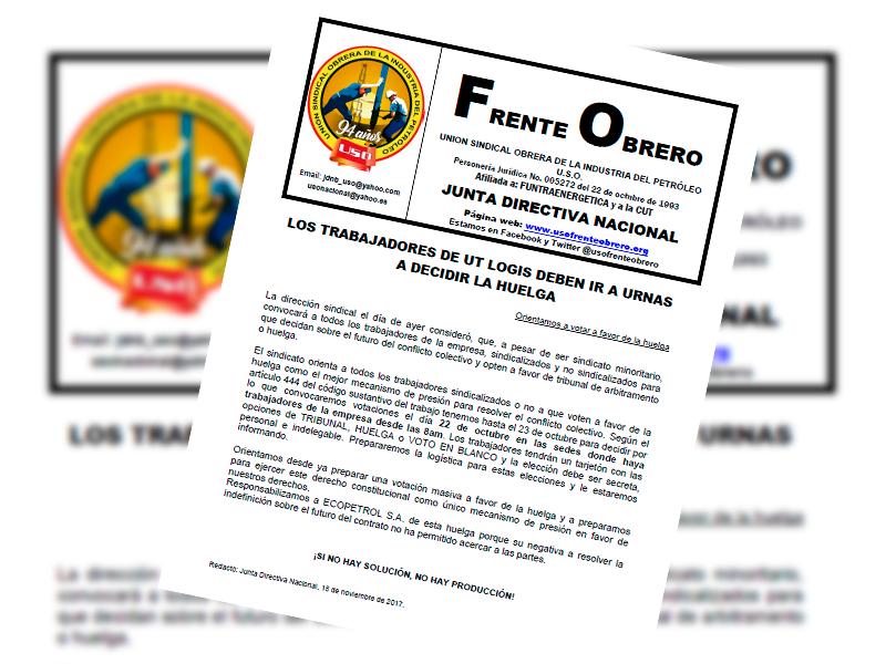 Los trabajadores de UT Logis deben ir a urnas a decidir la huelga