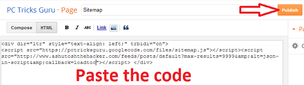 paste the code and publish the page