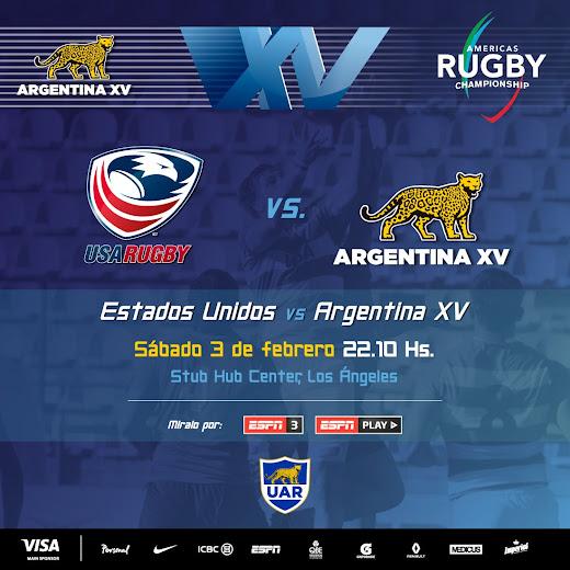 Sábado 03 de febrero: Estados Unidos - Argentina XV en vivo por ESPN 3.