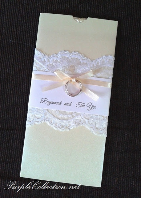 Lace With Rings Wedding Card, Pocket, pearl beige card, beige card, pearl card, lace with rings, lace card, rings card, wedding card, ivory beige, white lace card, white lace
