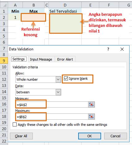 Contoh penyebab formula data validation tidak berfungsi