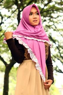 jilbab segi empat rempel