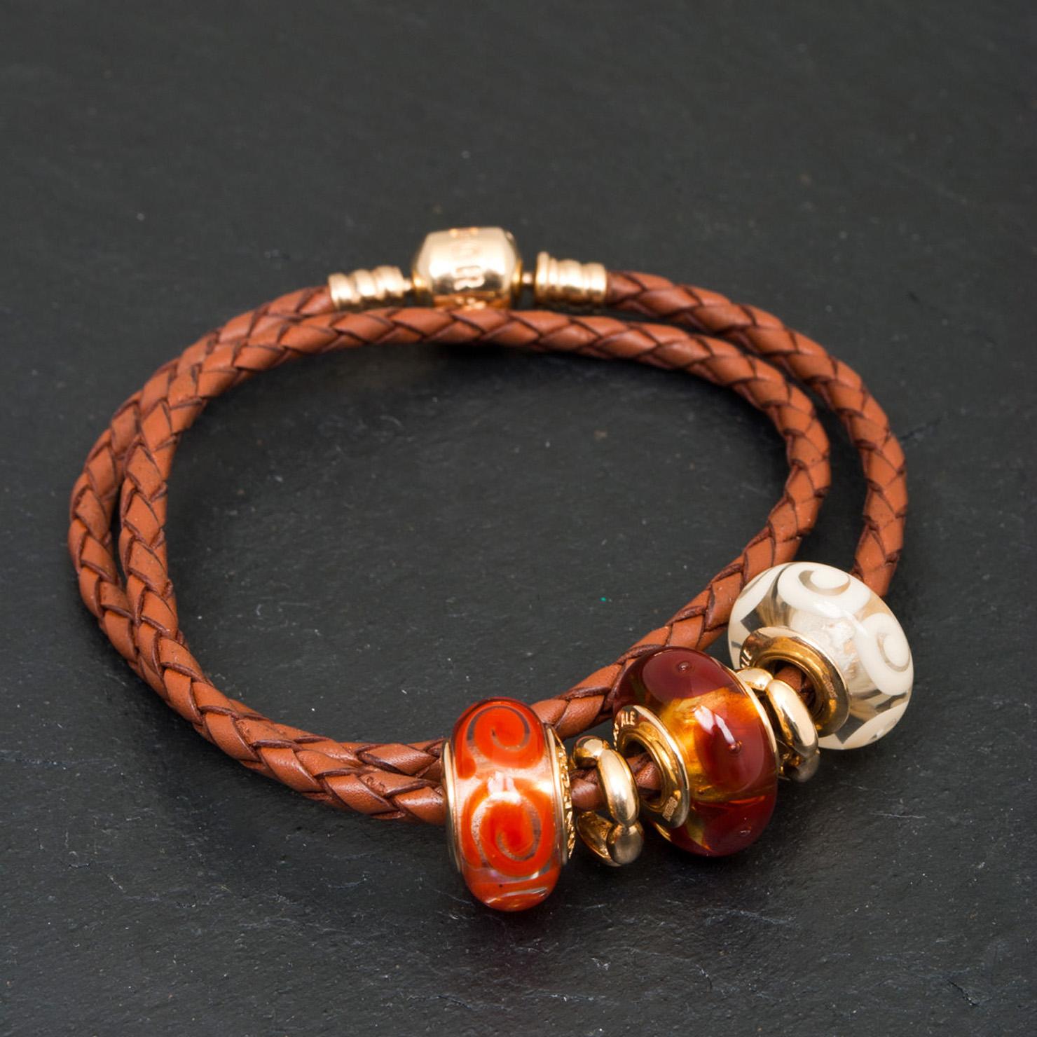 bracelet cuir orange pandora