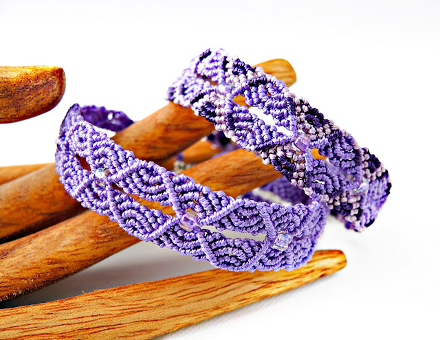 Ripples in Micro macrame bracelet, designed by Sherri Stokey of Knot Just Macrame.