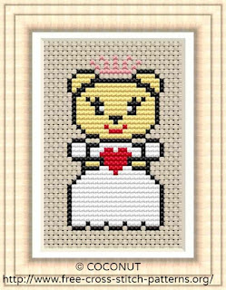 Wedding bear bride, Free and easy printable cross stitch pattern