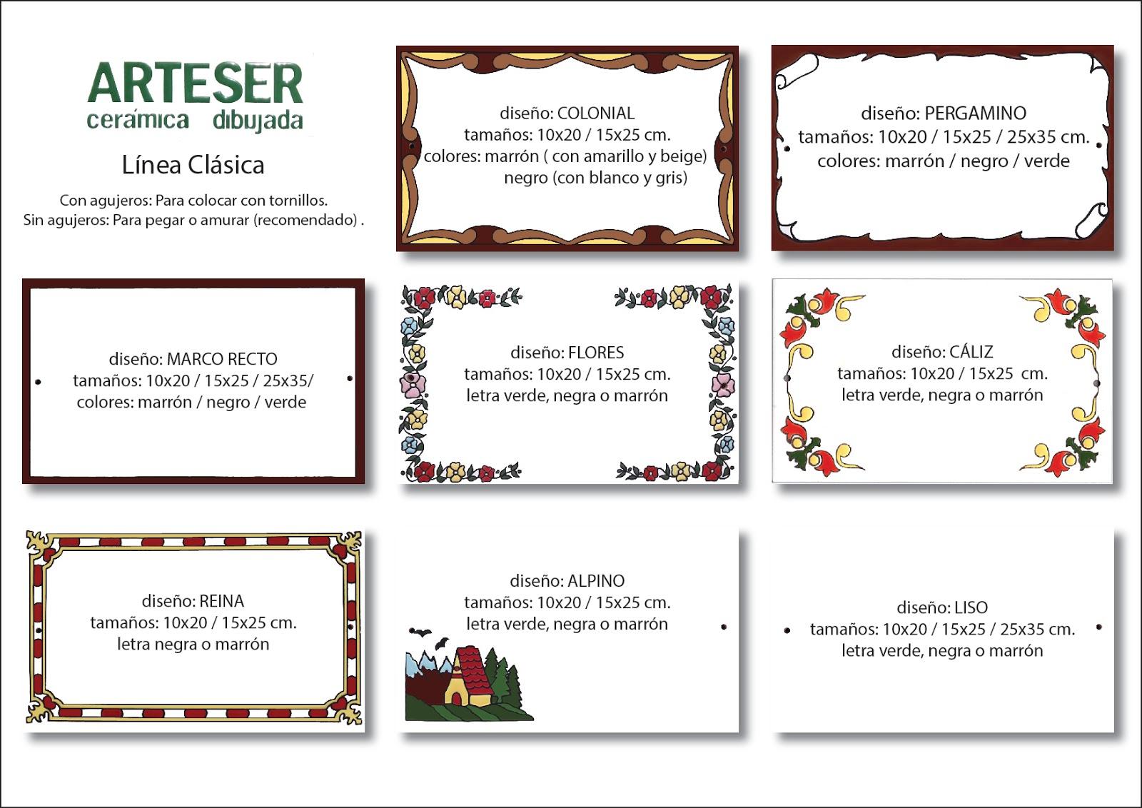 ARTESER: Diseños y tamaños