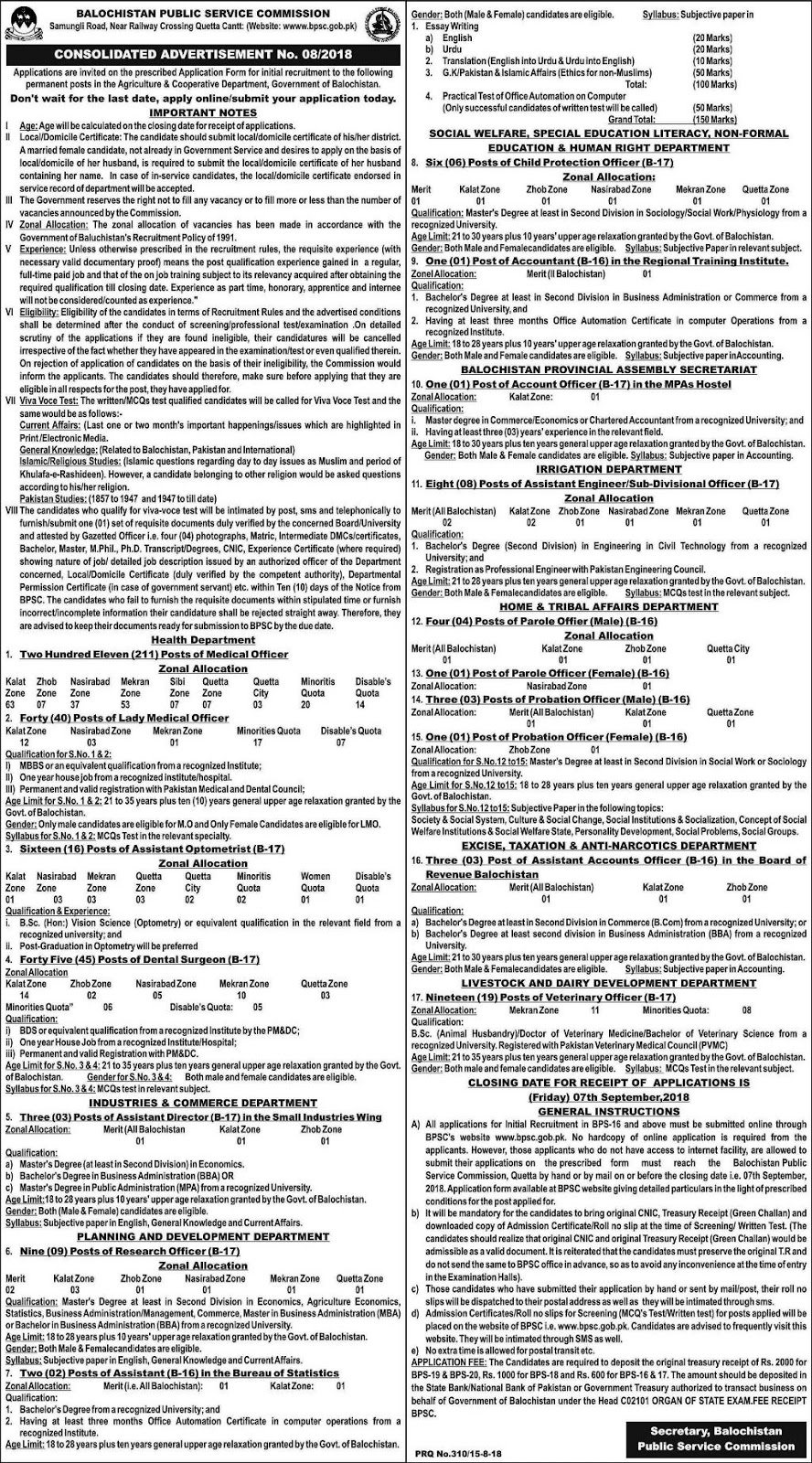Latest Vacancies in BPSC Balochistan Public Service Commission August 2018