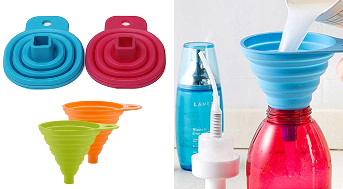 Collapsible Foldable Silicone Funnel for Liquid Transfer