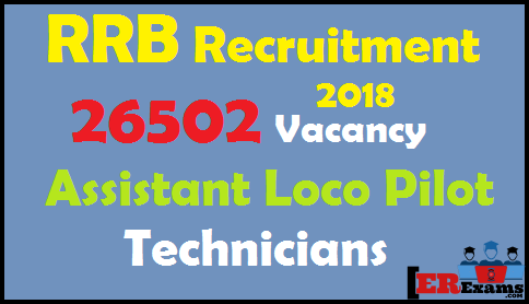 RRB ALP 2018 Recruitment, RB Assistant Loco Pilot and Technicians Recruitment Exam 2018. Detail Detailed Centralized Employment Notification RRB Exam 2018 require various posts of Assistant Loco Pilot 17673 and Technicians 8829, Exams Date, Age, Qualification, Important Date, RRB ALP Apply Online