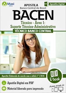 apostila bacen tecnico area-1 suporte tecnico administrativo