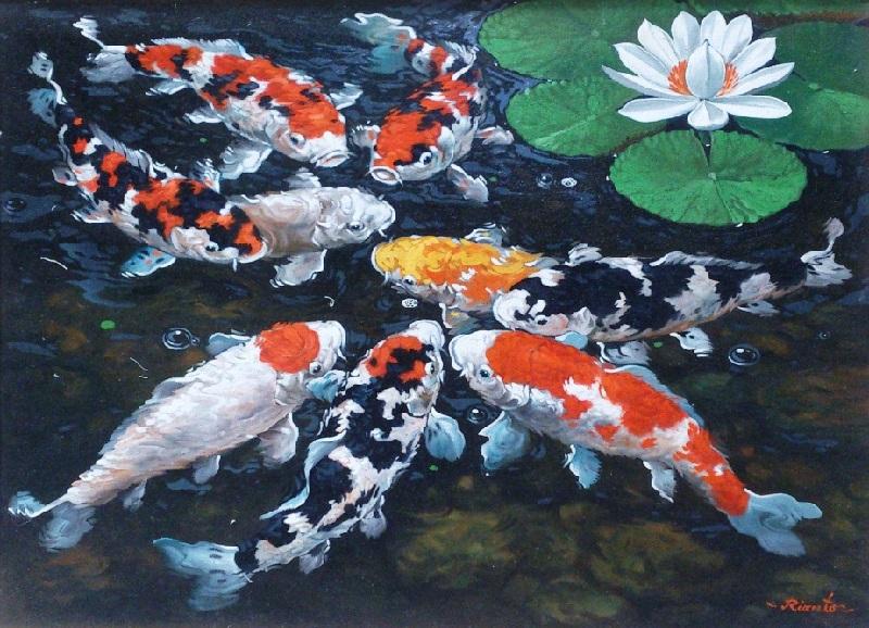 Gambar Lukisan Ikan Koi