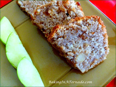 Apple Pie Bread: apples, walnuts, caramel, cinnamon, all the flavors of an apple pie in an easy quick bread | Recipe developed by www.BakingInATornado,com | #recipe #apples #bread
