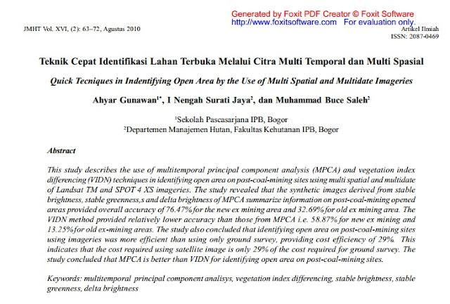Teknik Cepat Identifikasi Lahan Terbuka Melalui Citra Multi Temporal dan Multi Spasial [Paper]