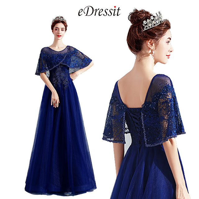 Blue Cape Embroidery Beaded Gown Party Dress
