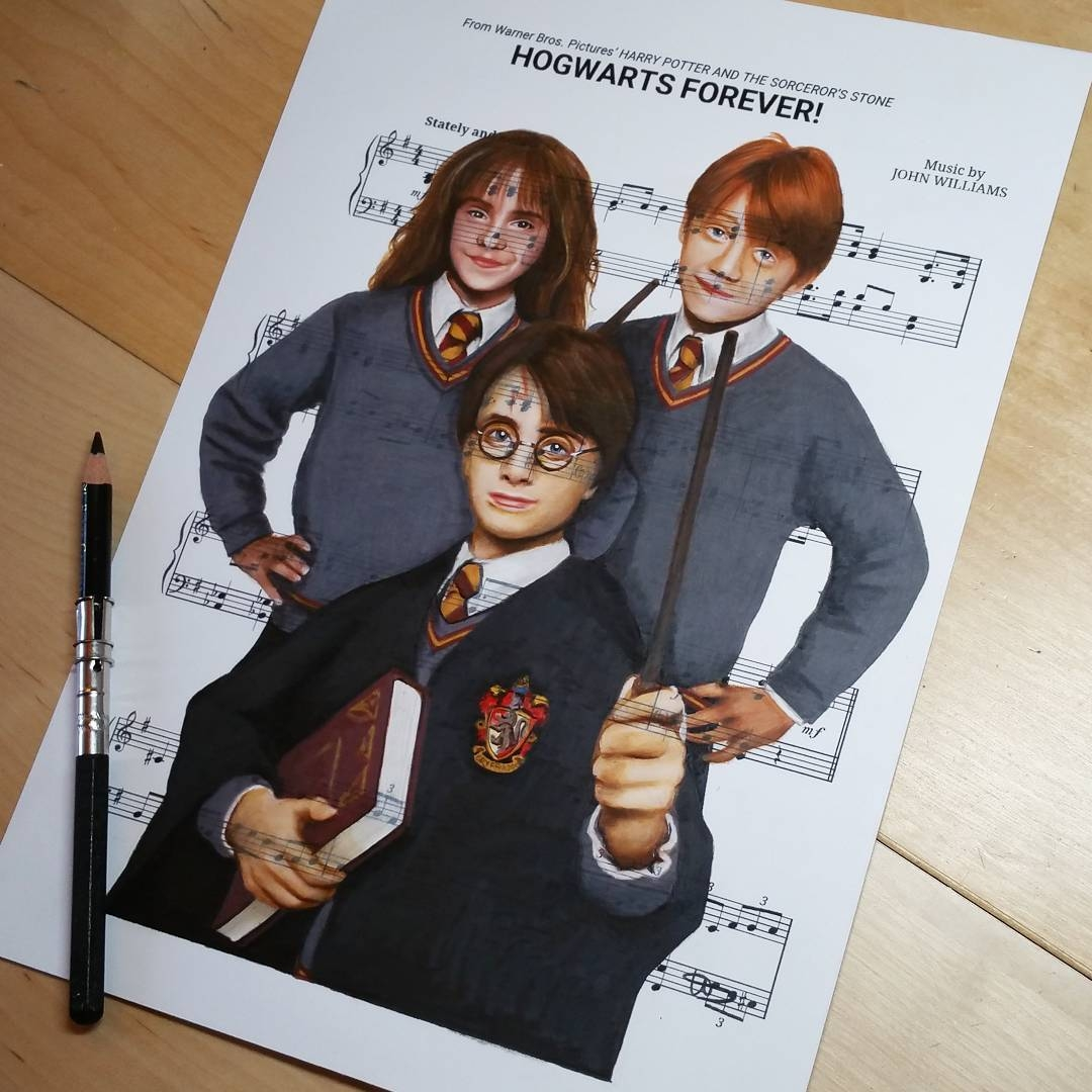06-Harry-Potter-Ursula-Doughty-Animated-Movies-Drawn-on-their-Music-Scores-www-designstack-co