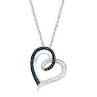 Heart Pendant Necklace with Blue and White Diamonds in Sterling Silver, 18""