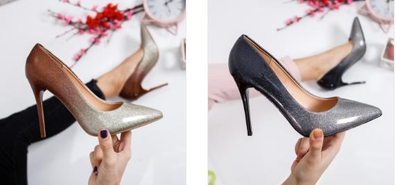 Pantofi eleganti cu toc inalt piele ecuita in degrade argintii