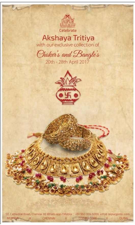 JAIPR GEMS | Akshaya Tritiya Gold and Jewellery Offers @Chennai | April /May 2017 discount offers