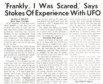 Egg-Shaped UFO Stalls Cars On Highway (Body) - Alamogordo Daily News 11-5-1957