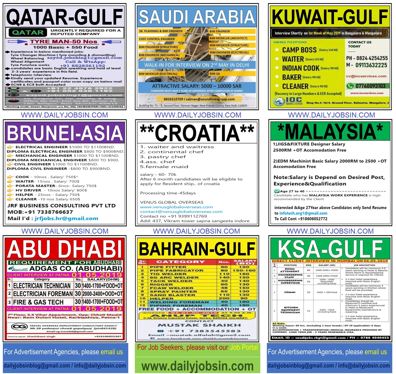 JOBS IN MALAYSIA, BRUNEI, CROATIA & GULF COUNTRIES ||