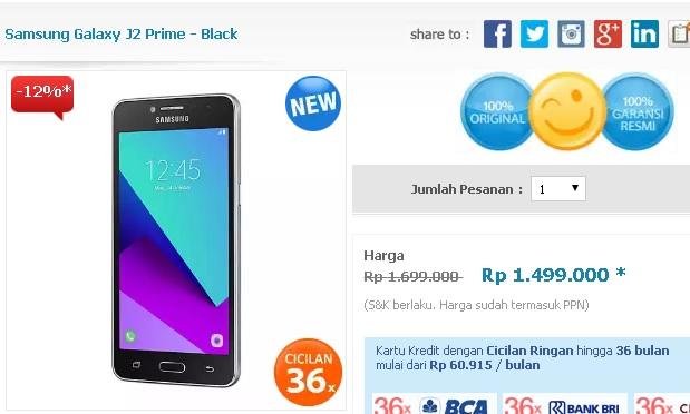 Samsung Galaxy J2 Prime 4G Android Murah 5 Inch Harga Rp 1