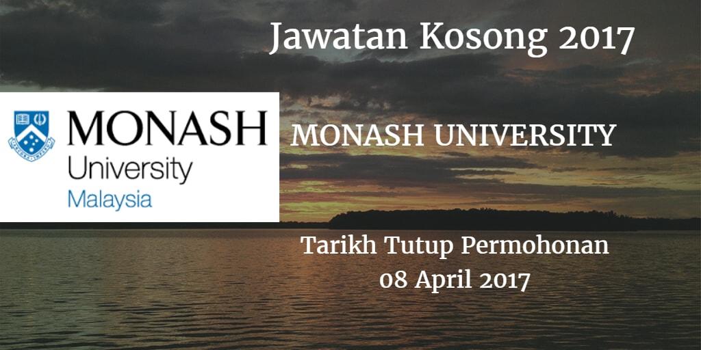Jawatan Kosong MONASH UNIVERSITY 8 April 2017