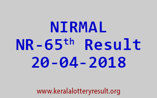 NIRMAL Lottery NR 65 Result 20-04-2018