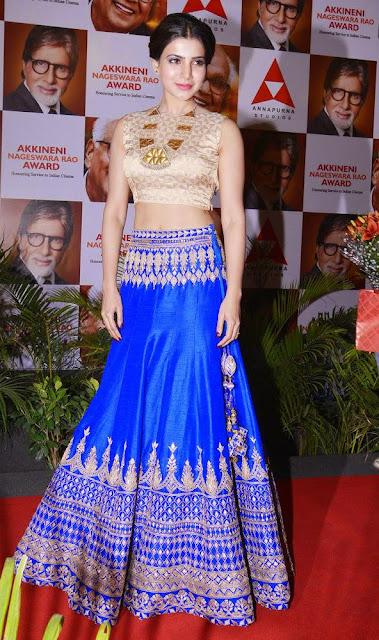 Samantha Royal Blue Lehenga at ANR National Award 2013