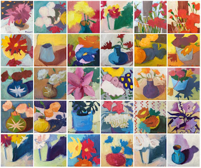 This is a collage of 30 small acrylic paintings of flowers by Barb Mowery completed during January 2018.