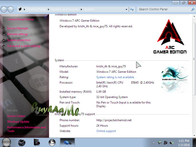 Windows 7 ARC Gamer Edition 32 Bits Full Version