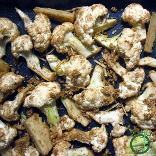 Morsels of Life - Balsamic Parmesan Roasted Cauliflower Step 4 - Bake at 425F for 25 minutes.